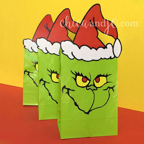 The Grinch Party Favor Bags Printables DIGITAL by chicaandjo