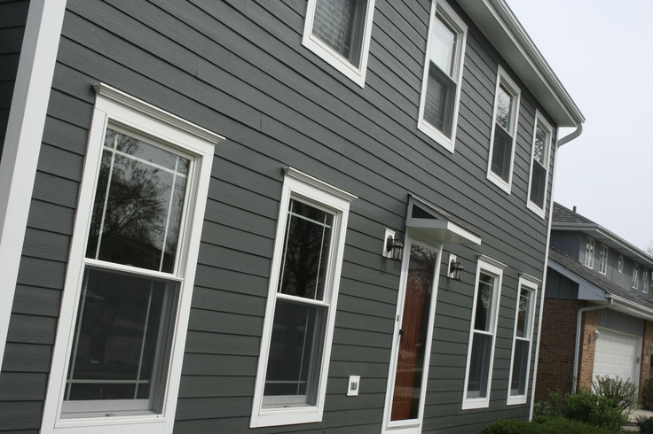 Iron gray james hardie and pretty red door all with opal - Best exterior paint for hardiplank siding ...