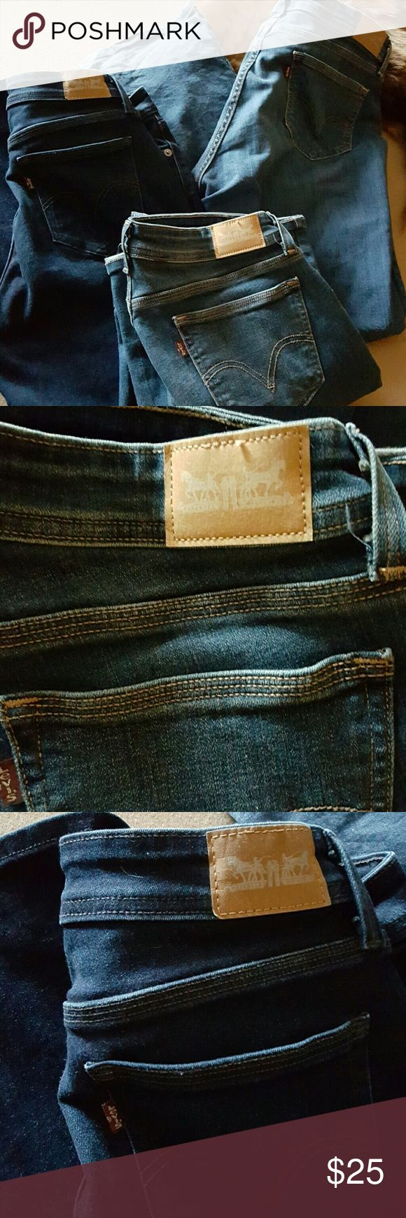 Lot of Levi's womens Curvy Bootcut I have 3 rarely worn. Great condition Levi's curvy Bootcut jeans.1 pair is dark blue. The other 2 are med blue in color. 2 of them are 12 short 1 is 12 med. $25 for all of them. On sale these will run 30 each.great deal Levi's Jeans Boot Cut