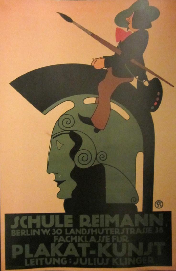 """Julius Klinger  Cartel """"Schule Reiman"""" que publicita. Los cursos de diseño de carteles publicitarios dictados por el autor.  1911  Kunstbibliothek, Staatliche Museen, Berlin"""