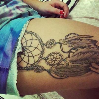 Dream Catcher Thigh Tattoo. | Tattoos/Piercings ...