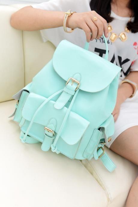 Unique College Style Nice Mint Green Backpack&Shoulder Bag