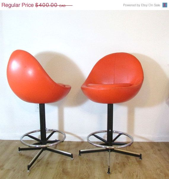 Cij Sale Retro Orange Barstool Pair Egg Shaped Chair Bar