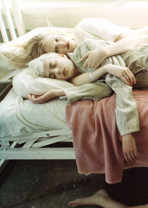Agyness Deyn and Lara Stone photographed by Steven Meisel in SuperMods Enter Rehab for Vogue Italia