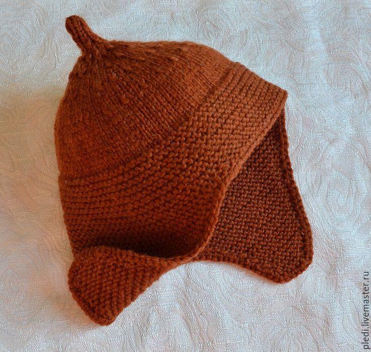 """Купить Детская шапочка """"Буденовка"""" - коричневый, однотонный, буденовка, шапка вязаная, шапка зимняя"""