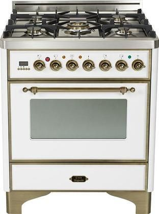 """UM-76-DMP-B-Y 30"""" Majestic Series Freestanding Dual Fuel Range with 5 Sealed Burners 3.0 cu. ft. Primary Oven Capacity Convection Oven Warming Drawer Oiled Bronze Trim in True White"""