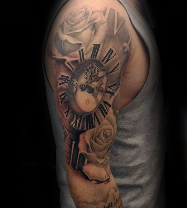 Full Sleeve Mens Clock Roman Numeral Tattoo                                                                                                                                                     Mehr