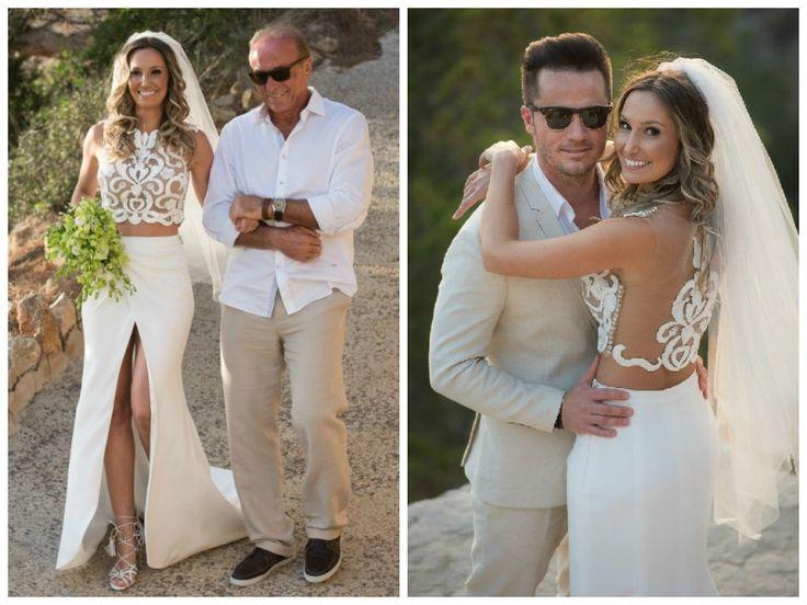 Vestidos de noiva estilosos: modelo com cropped top criado por Solaine Piccoli - Foto Everton Rosa