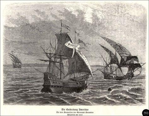 Die Entdeckung Amerikas - Die drei Karavellen von Christoph Kolumbus, Holzstich un 1860 | Flickr - Photo Sharing!