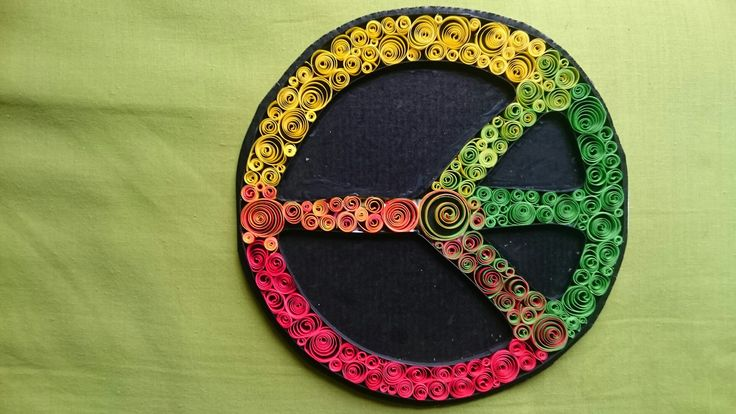 Quill, quilling, paper art, Rasta colors, peace sign, red yellow green, upcycle