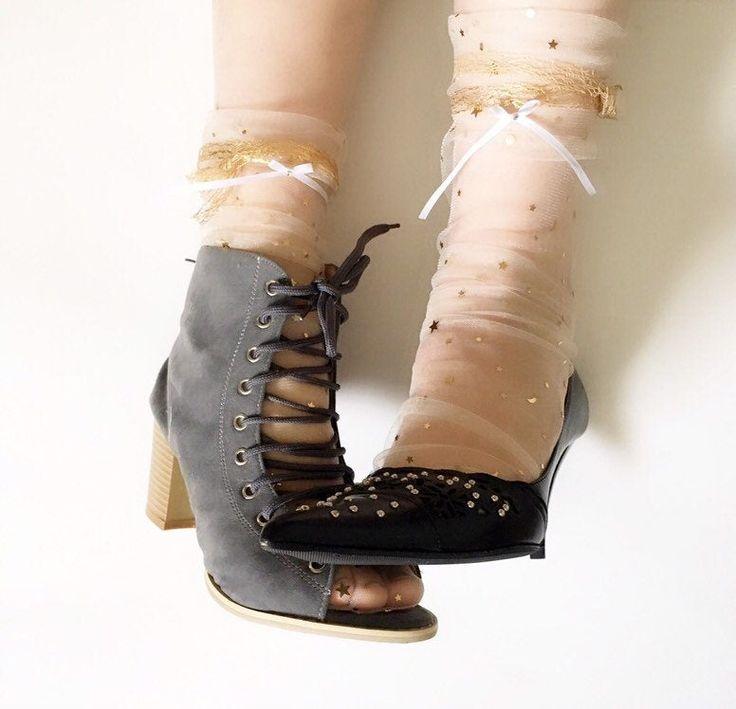 Mesh Tulle Transparent Ankle Socks stylish rhinestone stars bow Gold