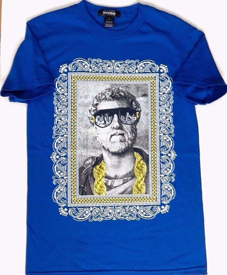 Funny ANTONINUS PIUS ROMAN EMPEROR BLING SWAG T-SHIRT Blue Rome/Greece Bust SM #Workshop #GraphicTee