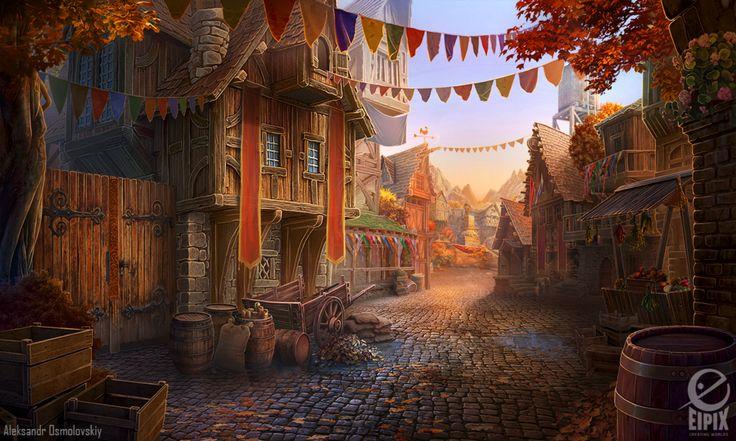 Medieval street - game scene by aleksandr-osm.deviantart.com on @DeviantArt