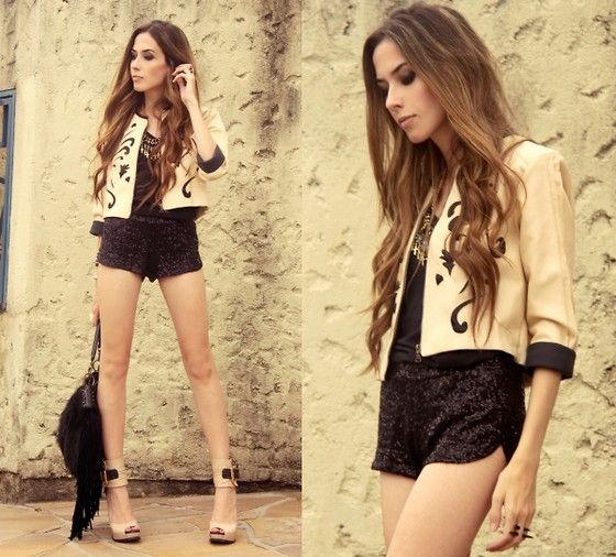 1: Jacket, Black Shorts, Fashion, Short Shorts, Fashion Style, Street Style, Rock Stars, Adorable Outfit, Hot Outfit