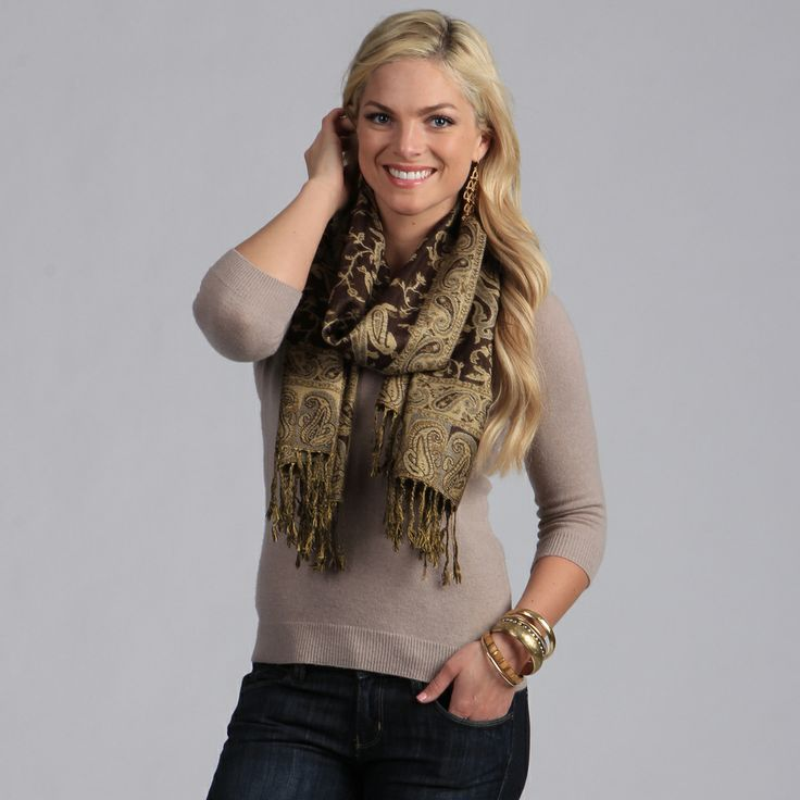 Women's Mocha Paisley Viscose Wrap | Overstock.com Shopping - The Best Deals on Shawls & Wraps