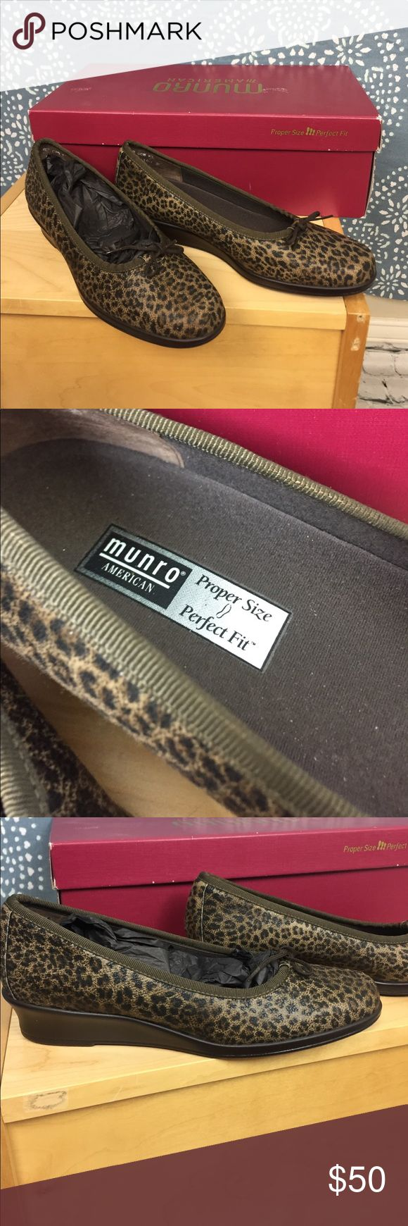 """NWT Munro Walking Wedge Anima Print Shoes Walking wedge shoe from Munro. They have a leopard print with brown ties. Known for their comfort, these shoes have shock absorbing heels, anatomically molded insoles, and provide arch support. The wedge is about 1"""".  Size 6M. Munro Shoes"""