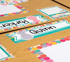"Add Mini Pineapple Accents to the Tropical Punch Name Plates for extra fun! - Use them to help teachers and substitute teachers learn students' names. Use them to label learning centers, storage areas, and portfolio collections. Laminate them for use as vocabulary flash cards, or work bank labels. Measures approx. 3-1/2"" x 11-1/2"". 36 name plates per pack."