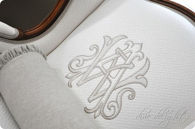 monogrammed chairMonograms Chairs, Design School, Chairs Makeovers, Custom Monograms, Nice Monograms, Bedrooms Before, Wingback Chairs, Gorgeous Monograms, Chairs Redo