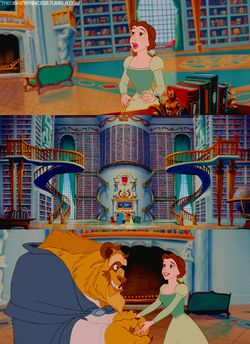 Image result for beast giving belle a library