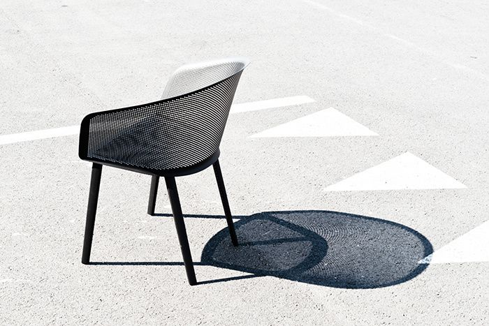 Kettal - stampa - Bouroullec - chair - armchair - outdoor - terrace - furniture - metal shell - perforated - grey