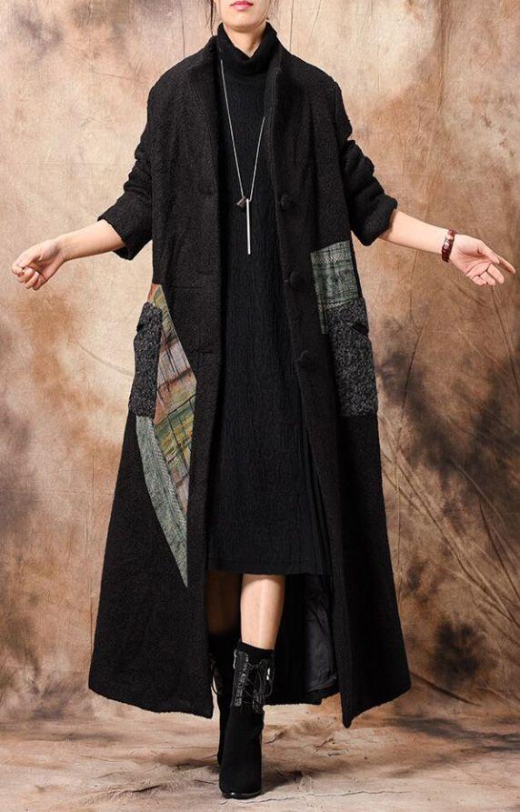 8f50204fccb Luxury black Women casual long winter coat patchwork stand collar woolen  outwear