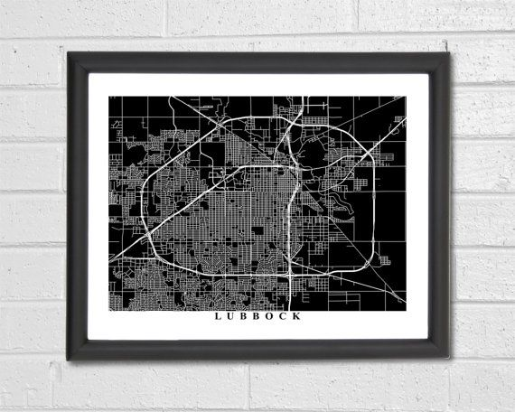 Lubbock Map Art  Map Print  Black and White by TheMapCollection