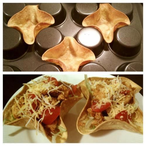 Homemade Taco Bowls    Preheat your oven to 375F, sprinkle each tortilla with water and warm them slightly. Then turn your muffin pan upside down, spray the tortillas with cooking spray and center in the spaces as shown in the image. Bake for 8-10 minutes and you have homemade taco bowls to add your toppings to.