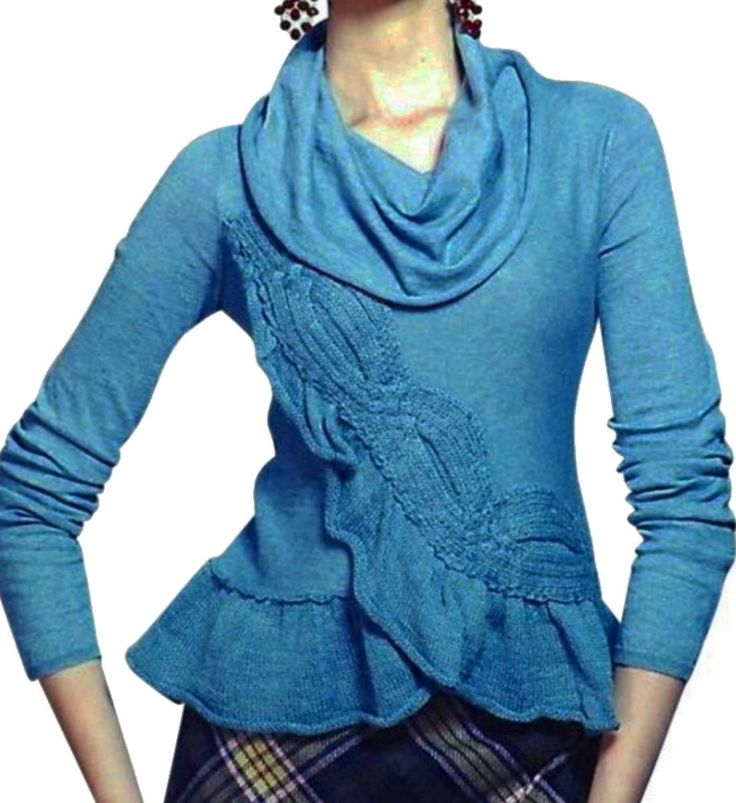Cool Anthropologie Switching Sides Pullover Top Medium Blue Cables Sweater Moth M