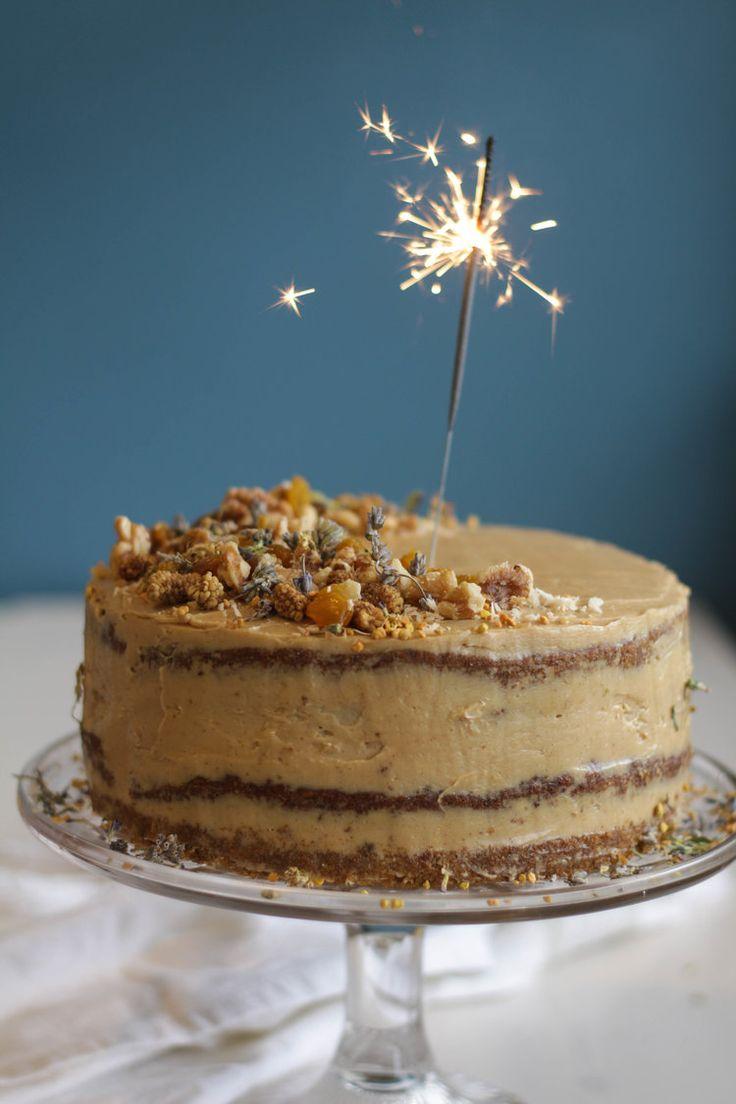 Carrot Zucchini Birthday Cake with Maple Ginger Cardamom Buttercream (Gluten-Free, Refined Sugar-Free).