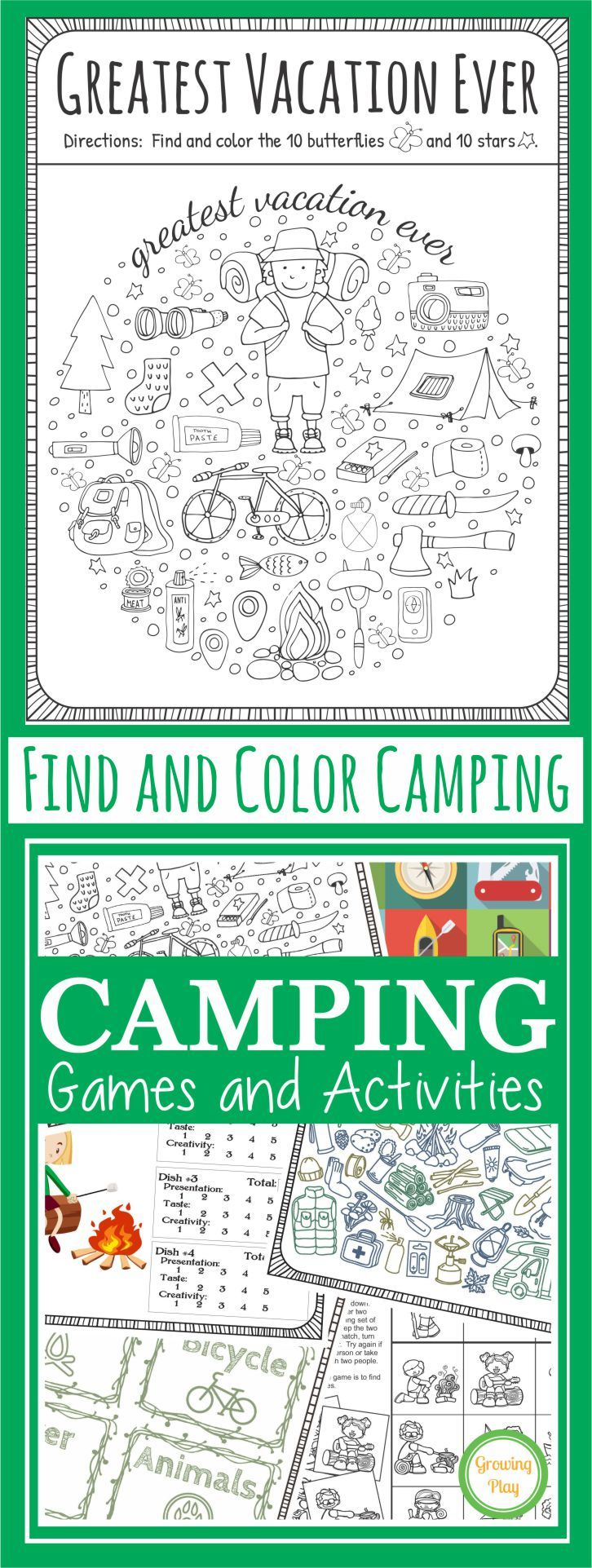 Find and color camping activity from Growing Play - FREE!