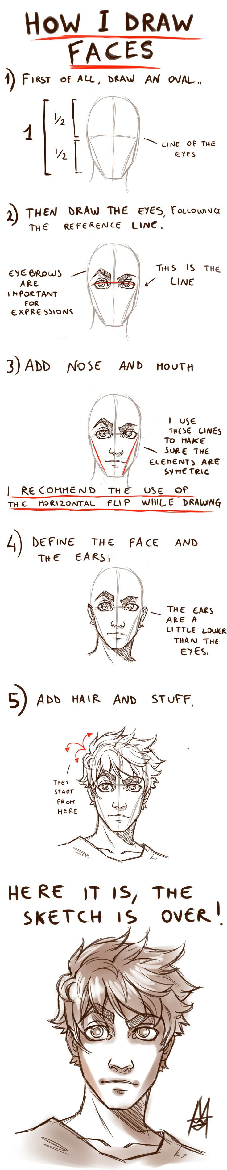 Tutorial HOW TO DRAW A FACE by *MauroIllustrator on deviantArt || CHARACTER DESIGN REFERENCES