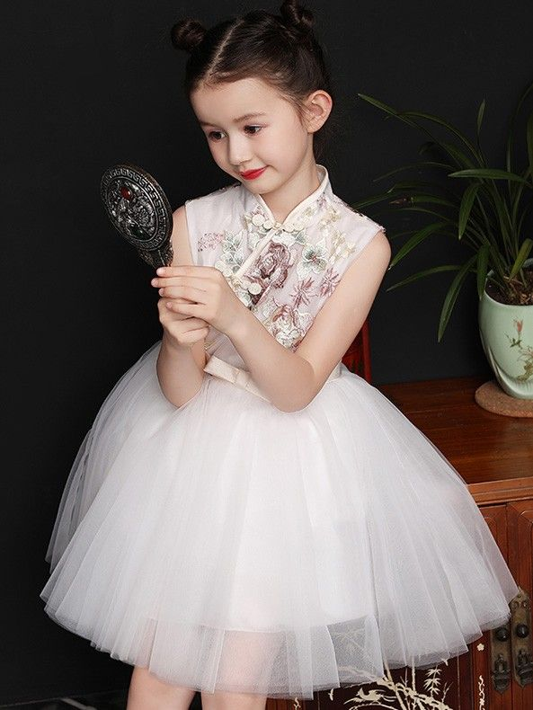 068b2a519 White Embroidered Flower Girl Qipao / Cheongsam Dress | Nihao, China ...