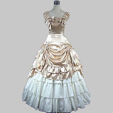 Abito+lungo+da+Lolita,+stile+principessa,+senza+maniche,+in+raso+cotone,+beige+–+EUR+€+55.85