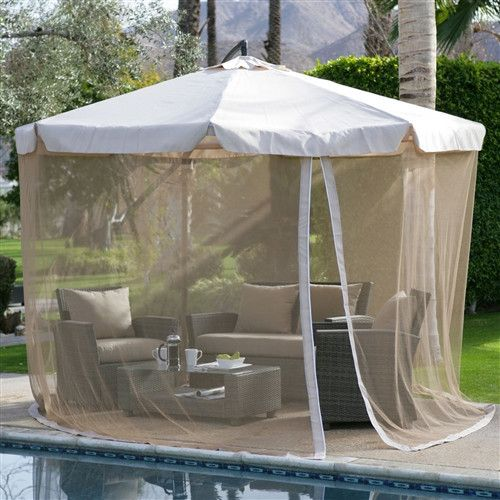 Green 11-Ft Offset Patio Umbrella Gazebo with Canopy Base and Detachable Mosquito Netting