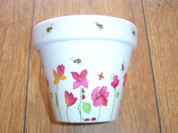 Hand Painted Flower Pots | Hand Painted and Decorated Flower Pots ( Spring Flowers Collection )