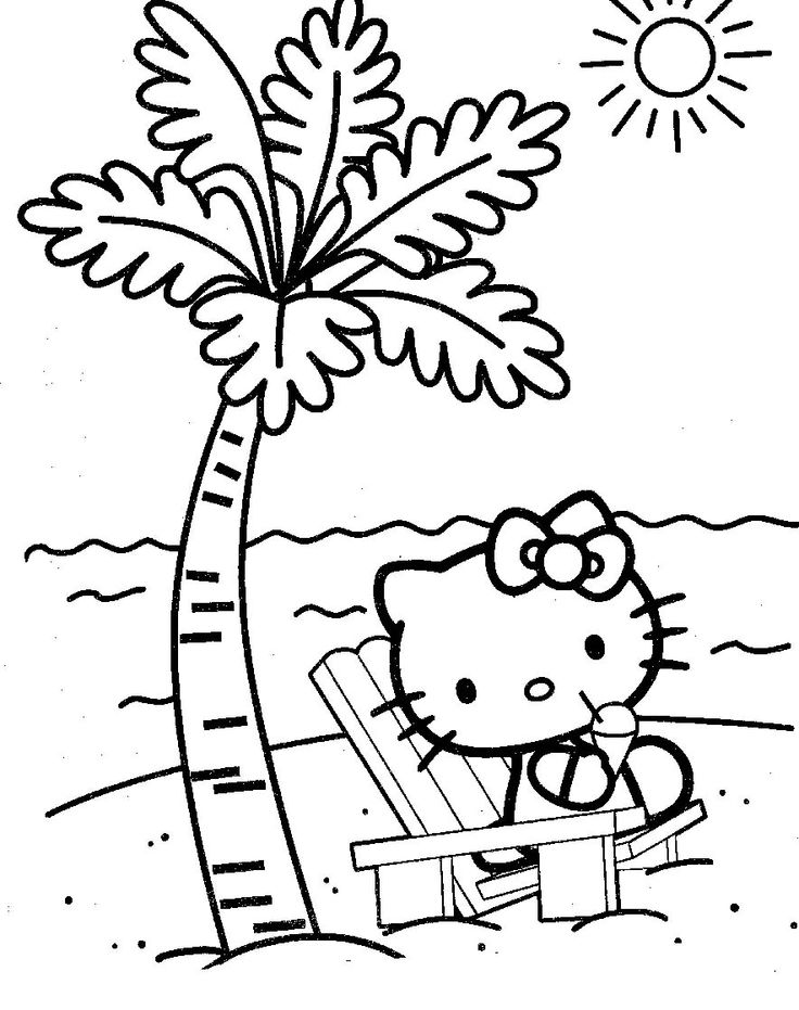 hello kitty sitting at the beach coloring page - Palm Tree Beach Coloring Page