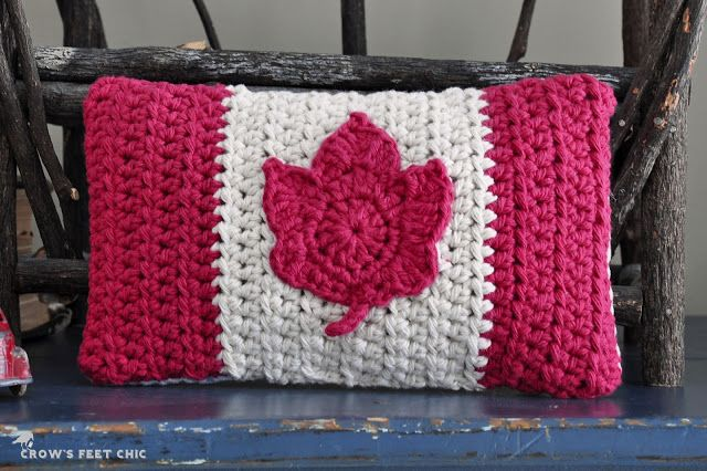 Happy Canada Day! Pillow by TracyMB / Crow's Feet Chic (And it's a knithack! well crochet...): Crochet Canada, Crafts Ideas, Crochet Dreams, Crows Feet, Feet Chic, Crochetingknit Ideas, Canada Crochet, Crochet Pillows, Crochet Patterns