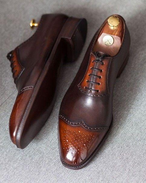Zapatos de cuero Brogue con punta de ala marrón claro hechos a mano, zapatos con cordones para hombre, zapatos para hombre   – Dress Shoes