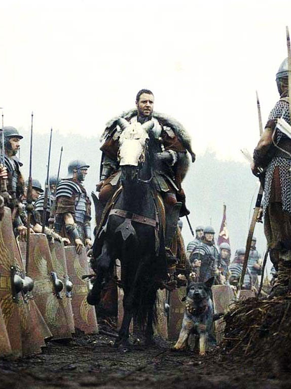 Russell Crowe in Gladiator, one of my favorite scenes as it was so obvious how much respect his men had for their General.