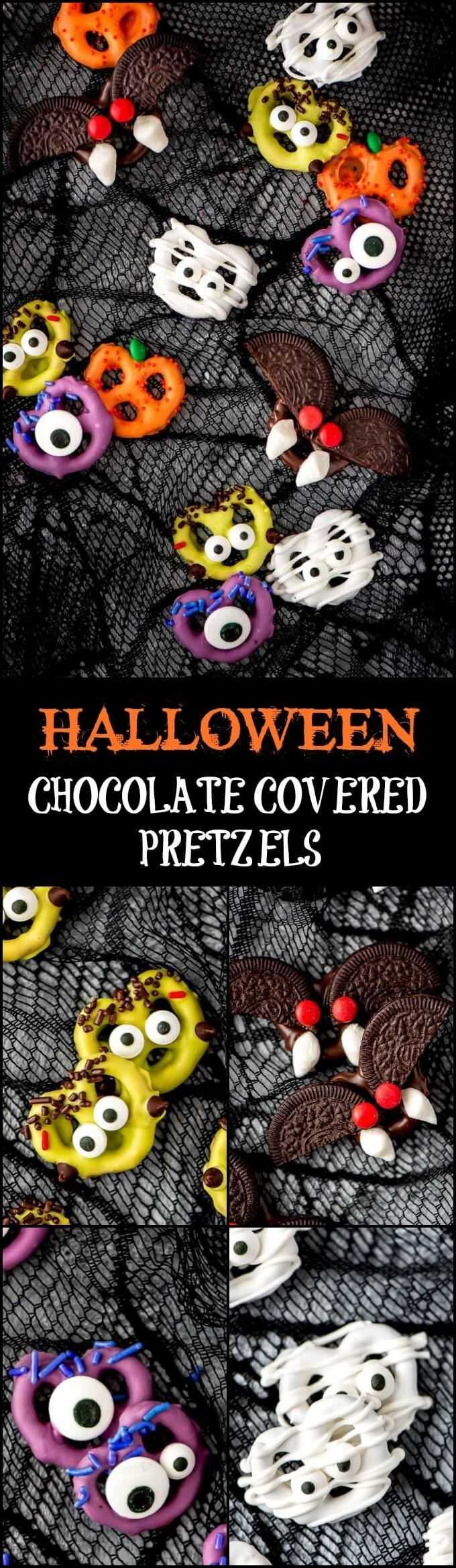 Halloween Chocolate Covered Pretzels are an easy treat to make and enjoy with the kids. Make bats, Frankenstein, mummies, pumpkins, monsters, or all!