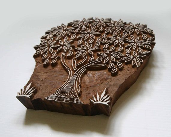 Tree Stamp - Indian Wood Block - Hand Carved Mango/Fruit Tree Design