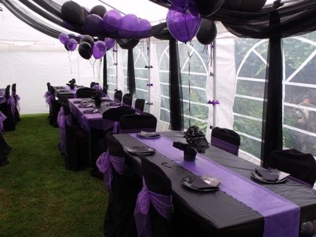 purple and black wedding decorations for outdoor pictures | Black and Purple Gothic Wedding Tower