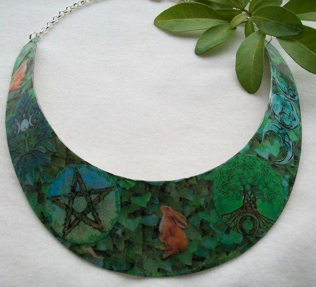 'Pagan Woodland' Decoupage necklace, neck collar, cuff.  Nature, pagan themed. £15.00