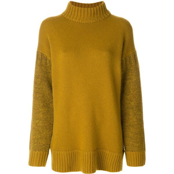 Pringle Of Scotland block colour roll neck jumper ($1,179) ❤ liked on Polyvore featuring tops, sweaters, green, roll neck sweater, block jumper, yellow jumper, green sweater and yellow top