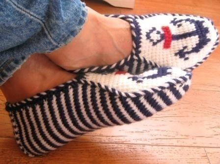Nautical Slippers navy and white perfect for men by Nettleberry, $30.00
