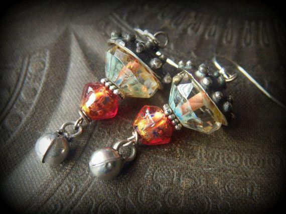 Banjara Kuchi Bells Vintage Glass Silver Czech Glass by YuccaBloom