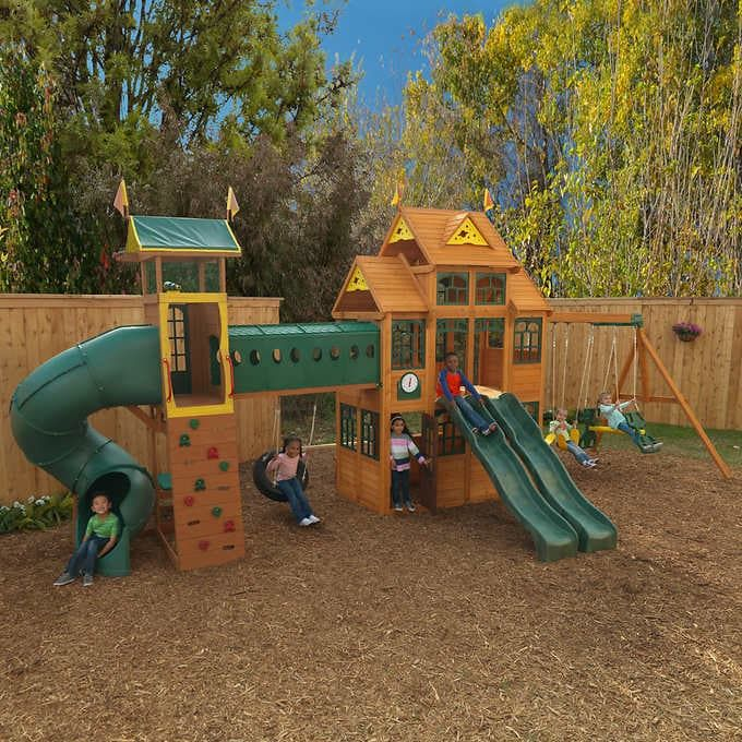 Cedar Summit By Kidkraft Bear Cave Lodge Swing Set Playset In 2021 Swing Set Swing Set Playhouse Play Houses