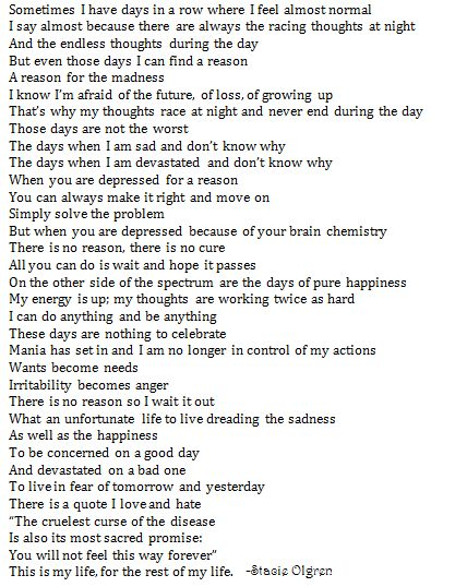 bipolar disorder quote about a bipolar life. Wow, it's like someone has been inside my head and wrote everything down.