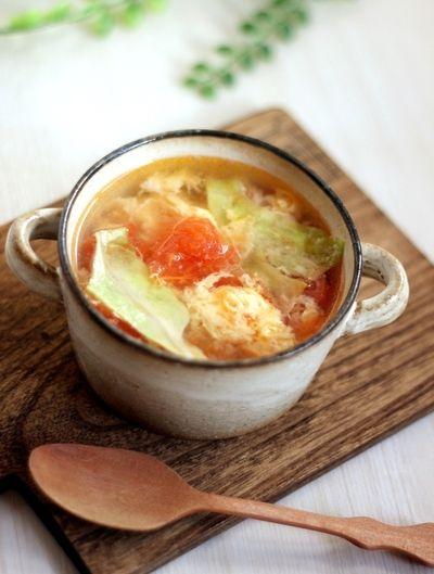 想像を超える?トマトレタス卵の3色スープ by りょーーーこさん ... 想像を超える?トマトレタス卵の3色スープ