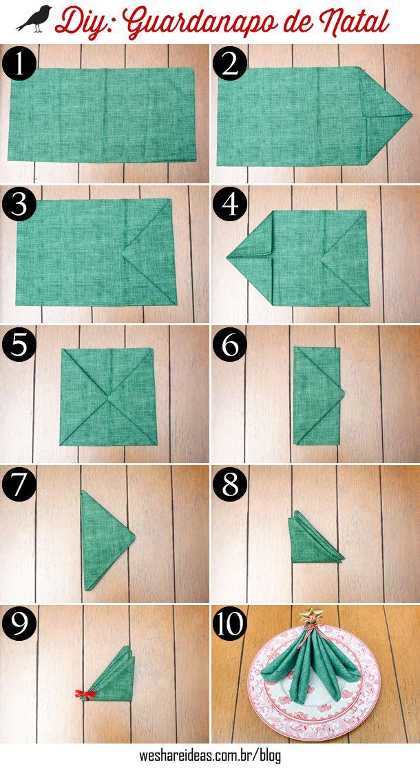dobradura de guardanapo em forma de árvore de natal. Guardanapo de tecido verde com estrela dourada.